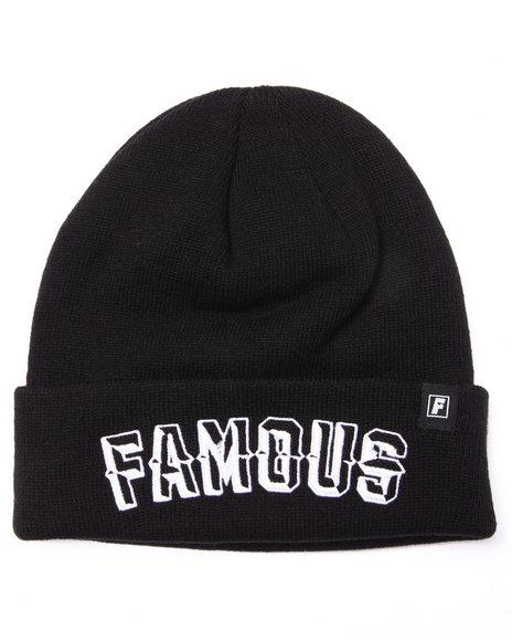 Famous Stars & Straps Men Prism Text Roll Up Beanie Hat Black