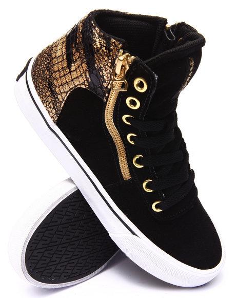 Supra - Women Black,Gold Cuttler Gold Foil Croc Suede Sneaker
