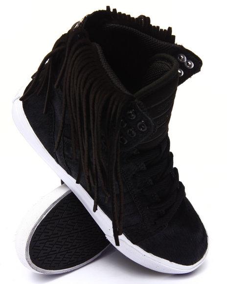 Ur-ID 185755 Supra - Women Black Skytop Pony Hair Sneaker W/ Suede Fringe