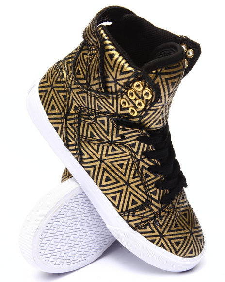 Supra - Women Black,Gold Skytop Distressed Suede Allover Diamond Print Sneaker