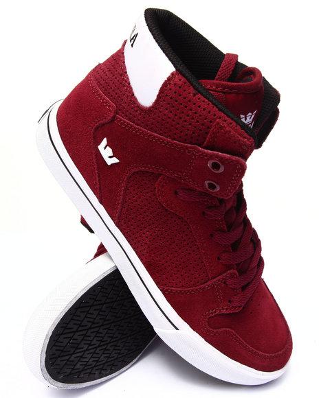 Supra - Men Maroon Vaider Burgundy Suede Sneakers