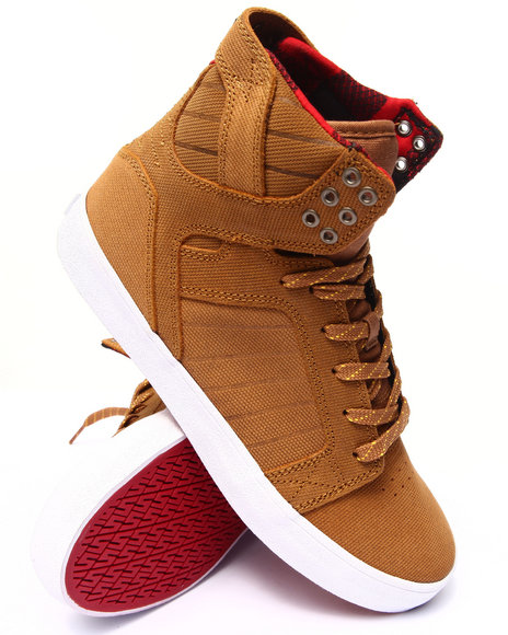 Supra - Men Brown Skytop Brown Canvas-Embossed Suede Sneakers
