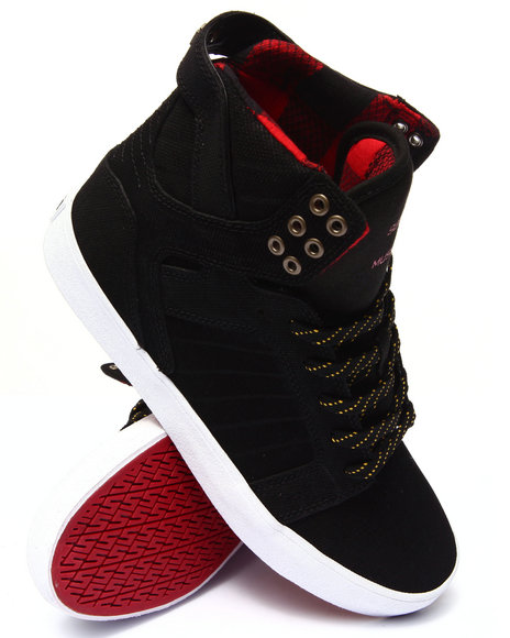 Supra - Men Black Skytop Black Canvas-Embossed Suede Sneakers