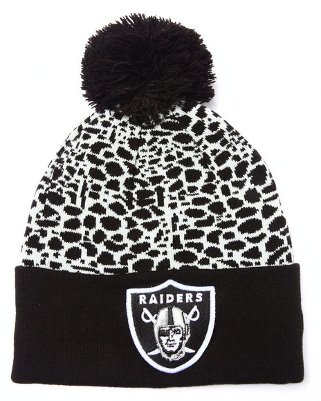 New Era Men Oakland Raiders Pebble Cuff Knit Hat Black