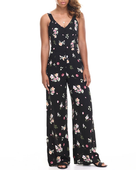 Almost Famous - Women Black Floral Button Front Challi Palazzo Jumpsuit