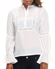 Women - Pleated Front Mandarin Collar Georgette Shirt