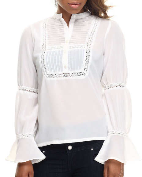 Ali & Kris - Women Ivory Pleated Front Mandarin Collar Georgette Shirt - $11.99