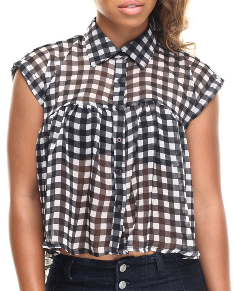 Ali & Kris - Women Black Gingham Button Down Shirt - $16.99