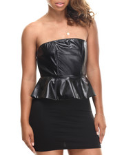 Women - Cotton Vegan Leather Trim Strapless Peplum Dress