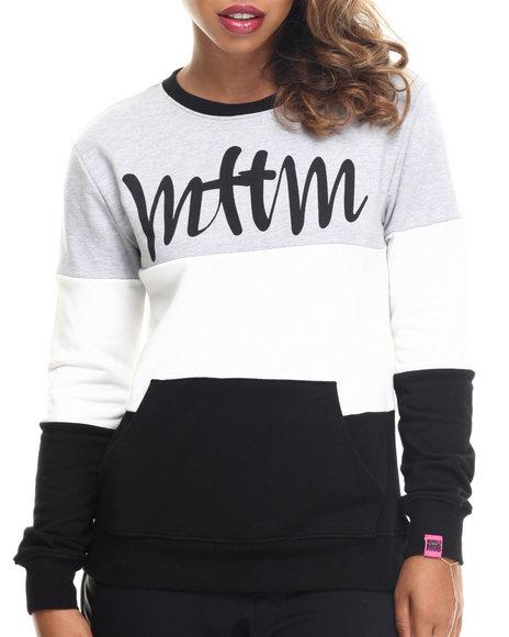 Married To The Mob - Women Black Colorblock Script Logo Sweatshirt