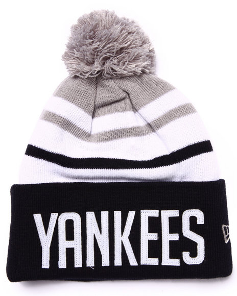 New Era - Men Navy New York Yankees Felt Stripe Knit Hat