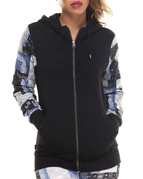 Crooks & Castles - Women Black Luxe Bandit Full Zip Hoodie