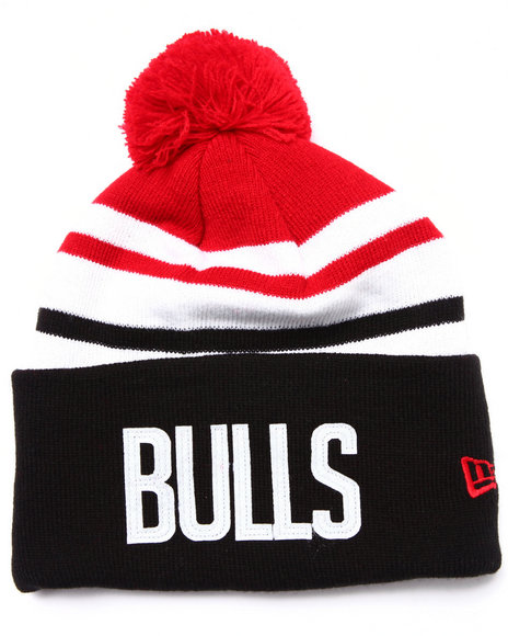 New Era Men Chicago Bulls Felt Stripe Knit Hat Black