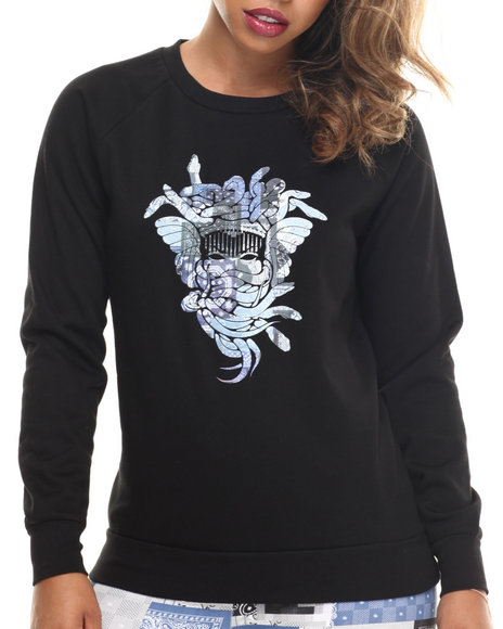 Ur-ID 185788 Crooks & Castles - Women Black Bandana Madusa Crew Neck Sweatshirt