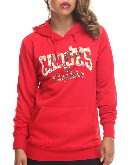 Crooks & Castles - Women Red Opulence Crooks Hooded Pullover