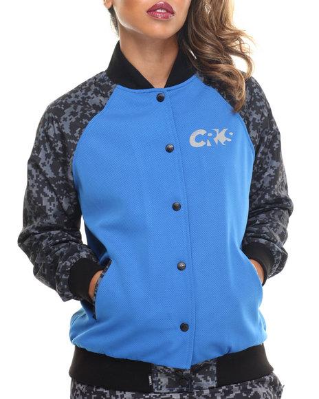 Crooks & Castles - Women Blue Sportek Reflective Print Varsity Jacket