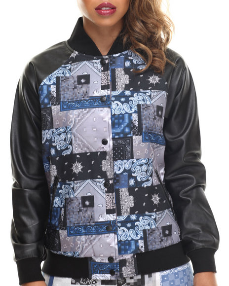 Crooks & Castles - Women Black,Multi Luxe Bandit Varsity Jacket W/ Vegan Leather Sleeves