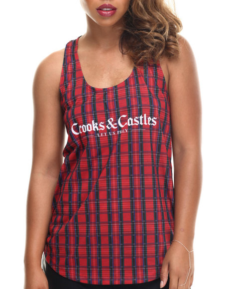 Crooks & Castles - Women Multi,Red Bird Trap Plaid Racerback Tank - $31.99
