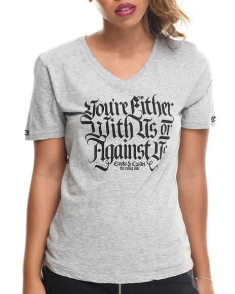Crooks & Castles - Women Grey With Us Or Against Us V-Neck Tee - $28.00