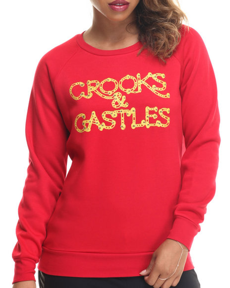 Crooks & Castles - Women Red Chaining Day Crew Neck Sweatshirt - $47.99