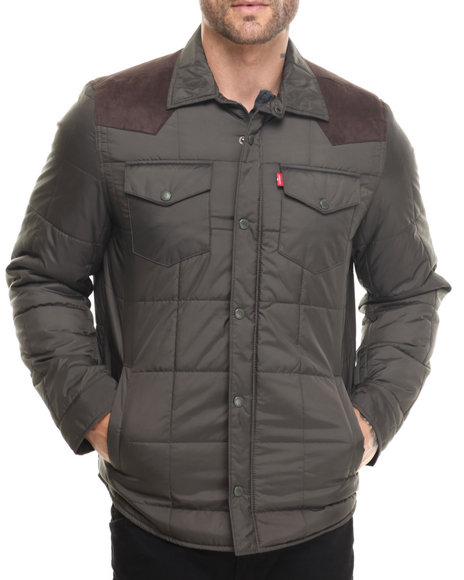 Levi's - Men Brown,Olive Chris Quilted Jacket