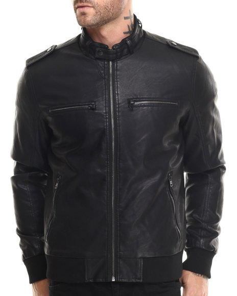 Levi's - Men Black Sam Faux Leather 4-Pocket Jacket