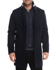 Sean John - N Y C Wool Top Coat w/ Quilted Inlay