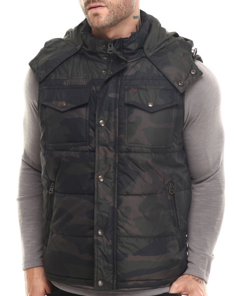 Levi's - Men Camo Kevin Camoflouge Hooded Puffer Vest