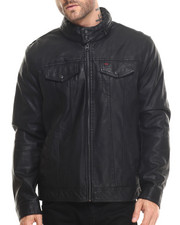 Leather Jackets - Josh Faux Leather Moto Trucker Jacket