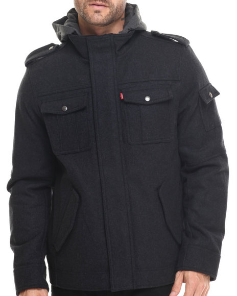 Levi's - Men Charcoal Collin Wool Utility Jacket