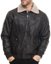 Leather Jackets - Faux Leather Vintage Flight Jacket