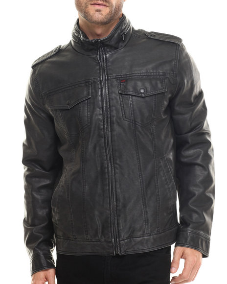 Levi's - Men Black Johnson Faux Leather Moto Jacket W/ Attached Hood
