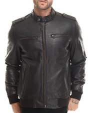 Leather Jackets - Sam Faux Leather 4-Pocket Jacket