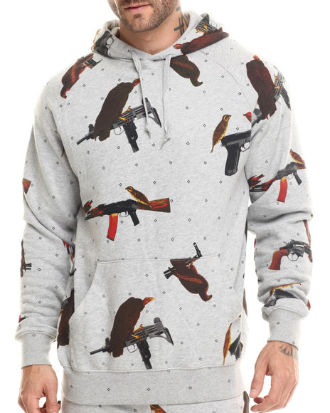 Crooks & Castles - Men Grey Birdtrap Hooded Pullover