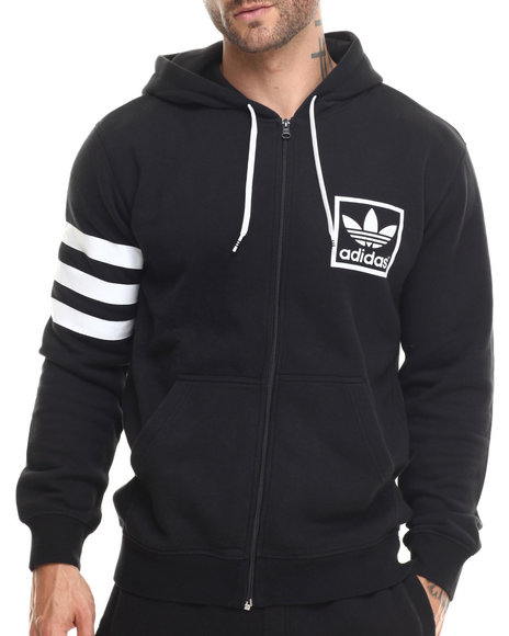 Adidas - Men Black 3Foil Full Zip Hoodie - $70.00