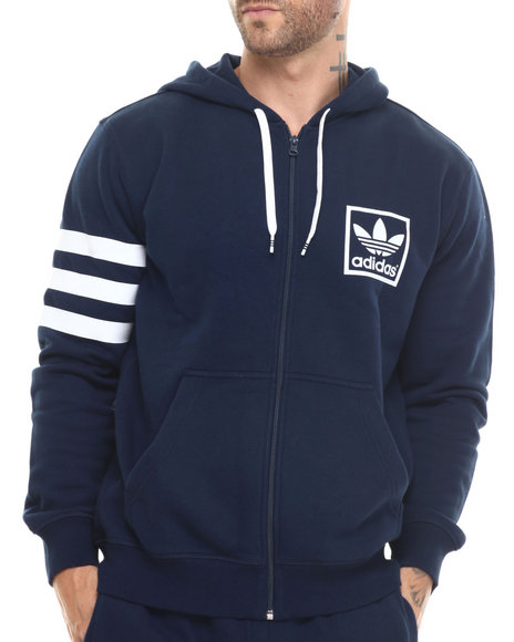 Adidas - Men Navy 3Foil Full Zip Hoodie