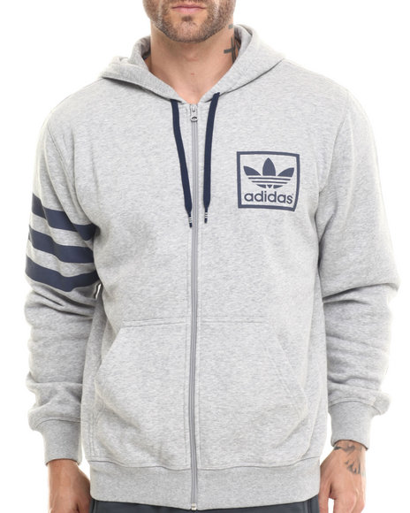 Adidas - Men Grey 3Foil Full Zip Hoodie