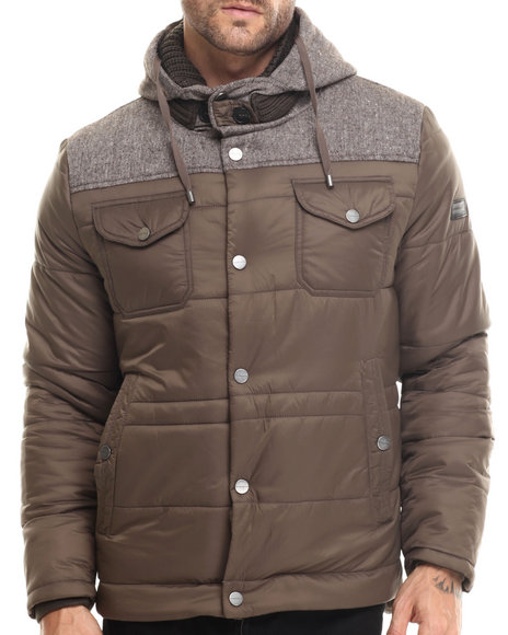 Sean John - Men Brown Nylon Quilted Jacket W/ Wool Flannel Yoke & Hood