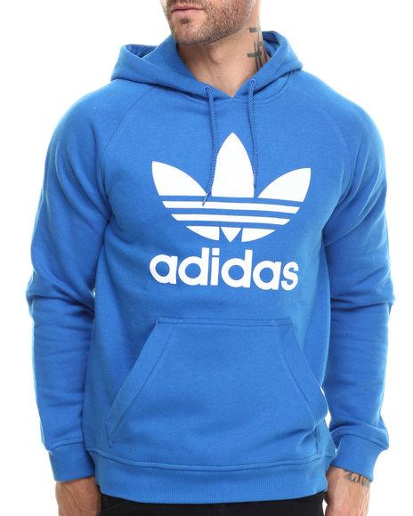 Adidas - Men Blue Raglan Trefoil Pullover Hoodie