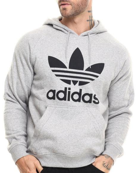 Adidas - Men Grey Raglan Trefoil Pullover Hoodie - $60.00