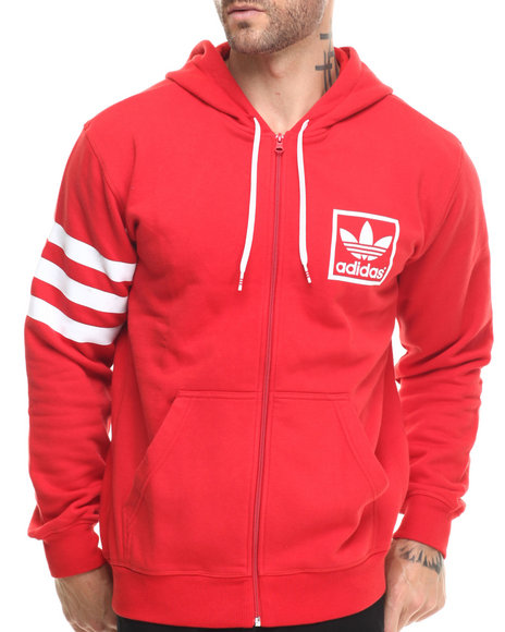 Adidas - Men Red 3Foil Full Zip Hoodie