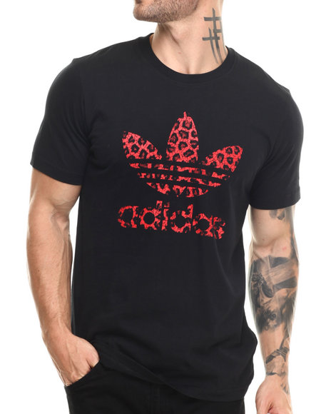 Adidas - Men Animal Print,Black,Red Trefoil Fill Tee