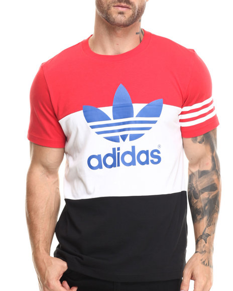 Adidas - Men Black,Red,White Colorblock Tee - $35.00