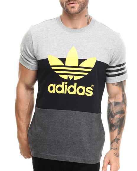 Adidas - Men Black,Grey Colorblock Tee
