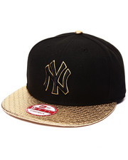 Hats - Black New York Yankees Hat with Metallic Trim Strapback hat (Drjays.com Exclusive)
