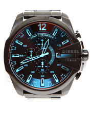 Diesel - Iridescent Crystal Mega Chief Black Ion-Plated Stainless Steel Bracelet Watch 59x51mm DZ4318