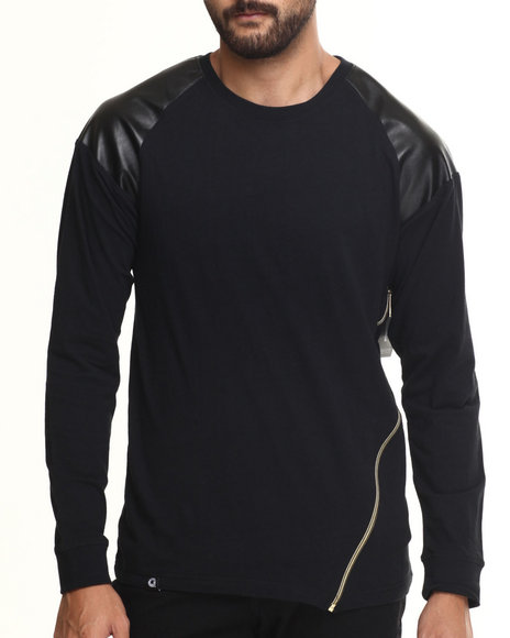 Akademiks - Men Black Powers Zipper Trim Raglan Shirt