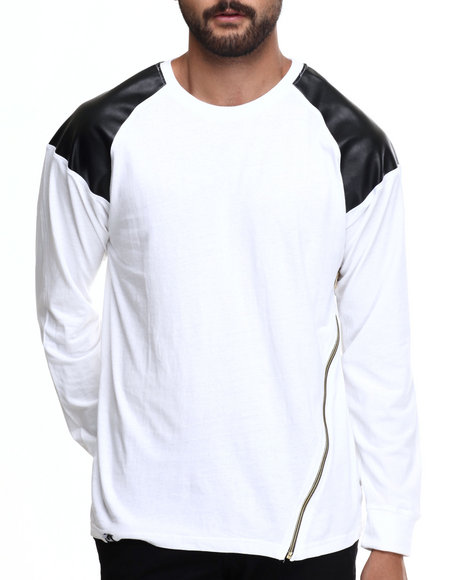 Akademiks - Men White Powers Zipper Trim Raglan Shirt