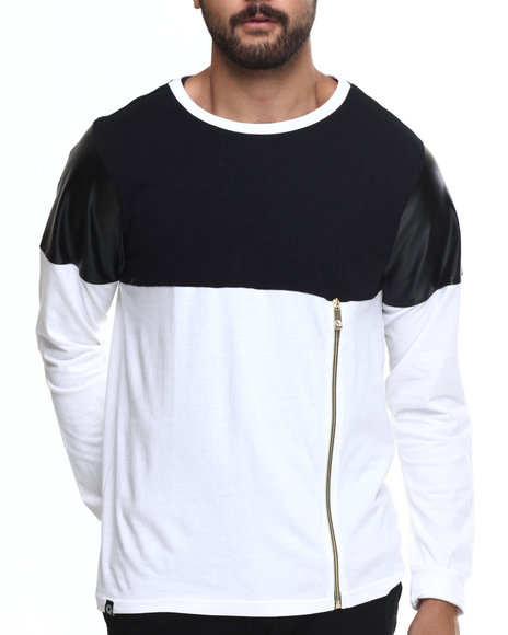 Akademiks - Men White Concord Zipper Trim L/S Shirt - $20.99