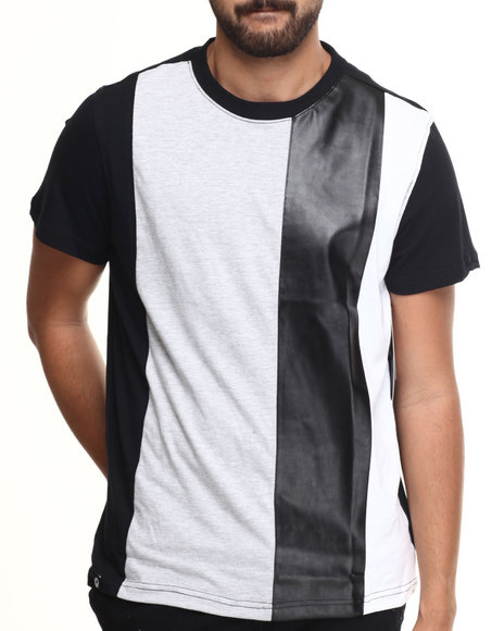 Akademiks - Men Black Trinity Multi Stripe Color Block S/S Tee - $22.00